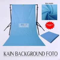 Kain Background Foto Studio / Backdrop Polos P.100x240 cm Biru Muda