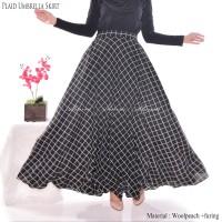 Rok Panjang Wanita Muslimah Payung Plaid Monochrome Umbrella Almira