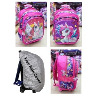 Tas Trolley Anak Sekolah SD Sequin USAP Unicorn Violet + RAIN COVER
