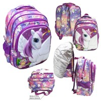 Tas Sekolah SD Ransel Anak Perempuan UNICORN Kuda Putih - PURPLE