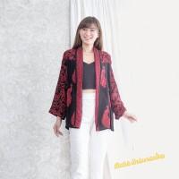 Outer Batik wanita cardigan blouse blazer santai - Peacock sogan red