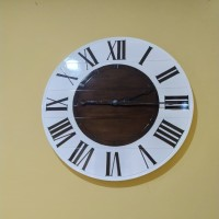 Jam dinding besar kayu jati diameter 50 cm custom 60 cm 80cm
