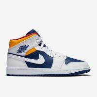 sepatu basket nike jordan 1 mid SE royal blue laser orange 554724 131