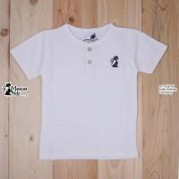 Baju Kaos Anak Mueeza Kids Original Polos Kancing Detail Logo White