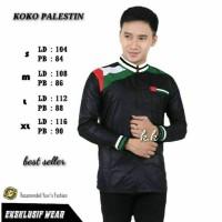 Baju Koko motif Palestina hitam/kemeja pria masakinibaju muslim modern