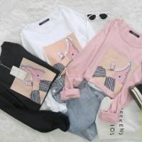 kaos oblong tangan panjang KAKISANTUY atasan baju wanita