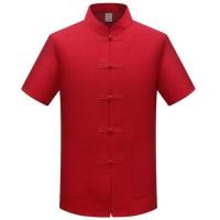 Kemeja Cheongsam Pria Merah Baju Kostum Imlek Congsam Pria Murah - 39