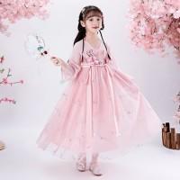 Dress Hanfu/Cheongsam Anak dan Remaja Perempuan - Pink Sparkling