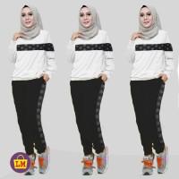Baju Setelan Olahraga Senam Training Wanita Motif CHL COMBI ARS 13154