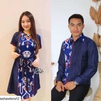 Baju Batik Couple Sarimbit Dress Kemeja Motif Songket Kombinasi Modern