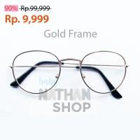 Kacamata Korea Frame Besi Simple Bulat Oval Fashion Pria Wanita