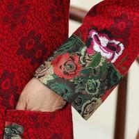 Andr Cheongsam Merah Bunga Baju Imlek Orang Tua Atasan Qipao Murah