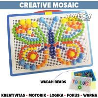 Mainan Edukasi Anak Creative Mosaic Nail Puzzle Papan Paku Jamur Pin