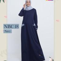 Gamis Nibras NBC 18 Navy Toyobo Baju Dress Muslimah Simpel Busui Polos - Navy, XS