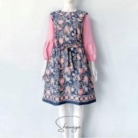 Baju batik solo Tunik Pinkan Dres Batik Modern Cap dress kombinasi