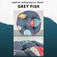 Gray Fish, Bantal Duduk Bulat Kualitas Premium 50x50 Ukuran Besar