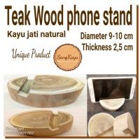 Teak wood Phone stand holder dudukan handphone unik kayu jati docking