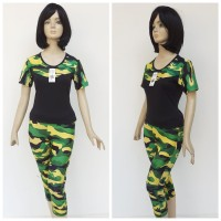 stelan baju senam abri army wanita - Hijau, M