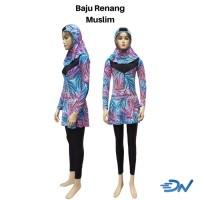 baju renang muslimah dewasa lengkap | kerudung renang | celana panjang - Biru, M