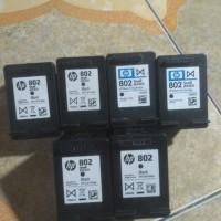 tinta merk HP 802 warna & hitam seken kosongan