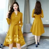 Dress Korea Vokemo | Baju Dress Wanita Terbaru - Kuning, Hijau Tosca
