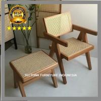 Bangku Kursi Sandar Stool Chair Teras Garden Duduk Rotan Rattan Jati