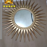 Figura Pigura Frame Cermin Kaca Hias Jati Bunga Matahari Ukir Dinding