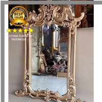 Figura Pigura Frame Cermin Kaca Hias Dinding Anggur Gold Mirror Ukir