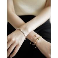 Dear Me - Alexandra Bangle (Titanium with 18K Gold Plating) Bracelet - Silver