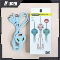 LIGER 6in1 Extended Cable 3 Plug 3USB Port For Micro, Type C, iPhone