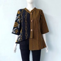 Shanaya Blouse tenun troso Modern Blus batik kerja wanita coklat hitam
