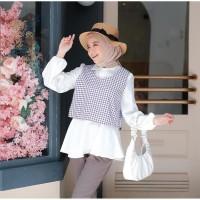 Yuzu blouse wanita bahan katun mix twiscone size fit XL casual
