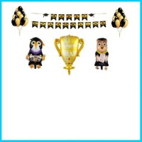 graduation banner gold banner hitam b piala b owl b bird 30pcs balon l
