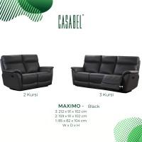 Sofa Kulit Asli Recliner Minimalis CASABEL MAXIMO 3 2 Kursi - Black