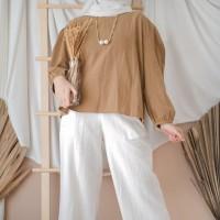 Nahdava top blouse wanita bahan twiscone corak polos casual