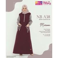 Gamis Nibras NB A38 Marun Katun Baju Sarimbit Couple Keluarga Lebaran