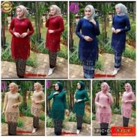 Shiyan - Baju Kebaya Tunik Brukat Tulang Set Alfiana Rok Batik Wisuda