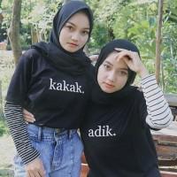 Kaos couple kakak adik / T-shirt twins cantik tee hijab kaos hitam 30s