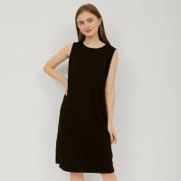 MONOMOM BASIC SLEEVE LESS DRESS BLACK - Baju Menyusui Premium Stylish - black, m/l