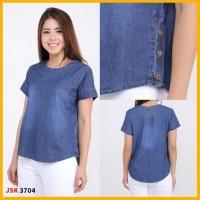 big size blouse denim baju denim wanita cewek jeans denim biru dongker