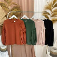 Anna top / blouse wanita corak polos bahan spandex size fit L murah