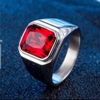Cincin Pria Batu Red Ruby Merah