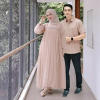 Baju Pasangan Gamis Couple Nuraini Mix Tutu Tile Outfit Muslim COD
