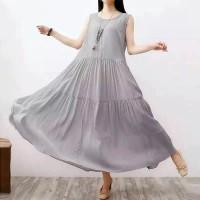 Premium Promo baju pantai wanita dress santai tanpa lengan polos murah