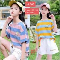 Setelan Anak Perempuan Impor 8-12 Tahun Baju Kaos Stelan Cewek Korea