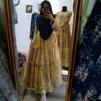 Baju Gamis Wanita Terbaru Gamis motif bunga ful furing Original Ceruty