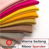 Kain Bahan Rib Jaket Rib bur Spandex Cotton Warna Sedang