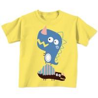 Kaos Anak TIREX BLUE NAKED & FREE Bahan Cotton Combed 30s - KUNING, 6-12 BULAN