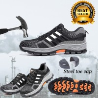 SEPATU SAFETY IMPORT STRIP HITAM OLD 5A RINGAN SNEAKER SAFETY SPORTY
