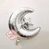 Balon Bulan Bintang silver / Balon foil Star Moon / Dekorasi Lebaran